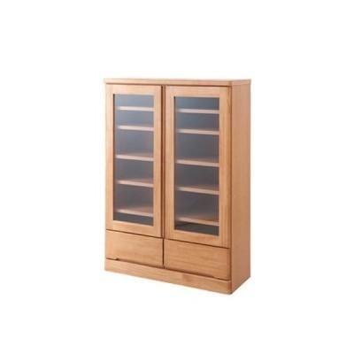 ガラス扉付 高級本棚 天然木パイン材 ロータイプ 幅80 奥行32 高さ121cm ナチュラル色 TE-0037
