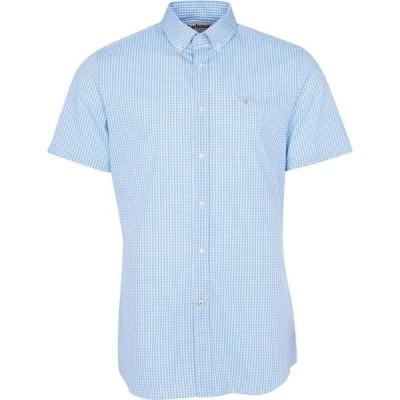バブアー Barbour メンズ 半袖シャツ トップス Gingham 27 Short Sleeved Tailored Shirt Sky Blue BL