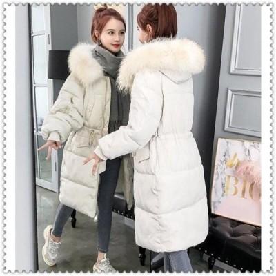 中綿ジャケットレディースファー付きブルゾン中綿コートダウンジャケットアウターロングコート冬防寒ダウンコートフード付き