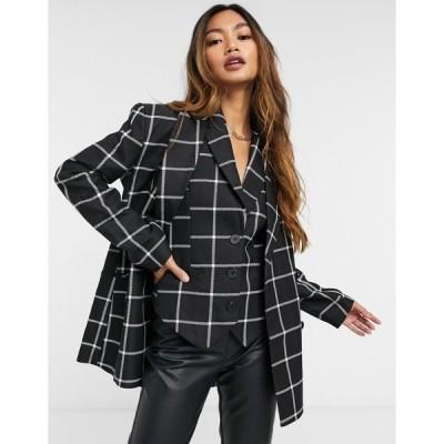 エイソス レディース ジャケット&ブルゾン アウター ASOS DESIGN mono grid check 3-piece suit blazer Mono check