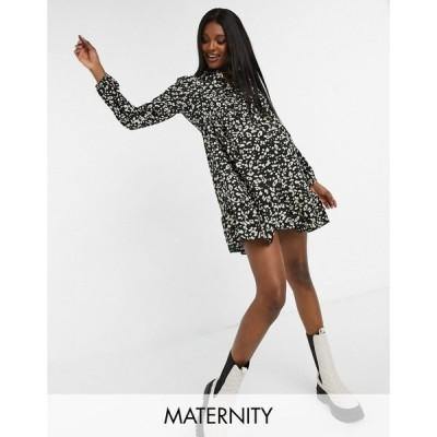 ニュールック New Look Maternity レディース ワンピース ワンピース・ドレス Balloon Sleeve Shirt Smock Dress In Black Animal Print ブラックパターン
