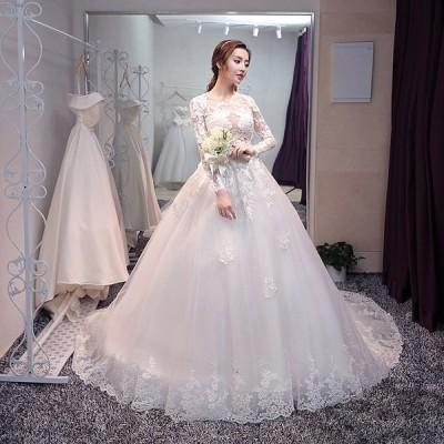 ウエディングドレス パーティードレス ブライズメイド ブライダル 結婚式 披露宴 ロング レース プリンセス Aライン 純白