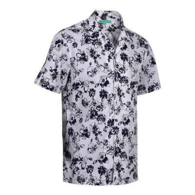 ミオマリオ シャツ トップス メンズ Men's Hawaiian Print Cotton Dress Shirts Olive