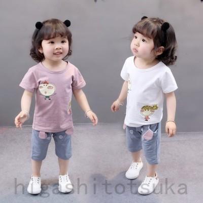 子供服 2点セットトップス+五分丈パンツ 女の子 プリント 半袖 Tシャツ ボトムス カジュアル おしゃれ 子ども服 女児 夏 セットアップ カジュアル 人気 可愛い