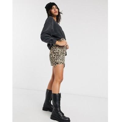 ベルシュカ レディース スカート ボトムス Bershka belted mini skirt with utility pockets in leopard print