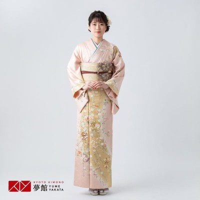 袷 訪問着 レンタル 結婚式 入学式 卒業式 薄ピンクぼかし 花柳に丸紋 対応身長155〜159cm H1186