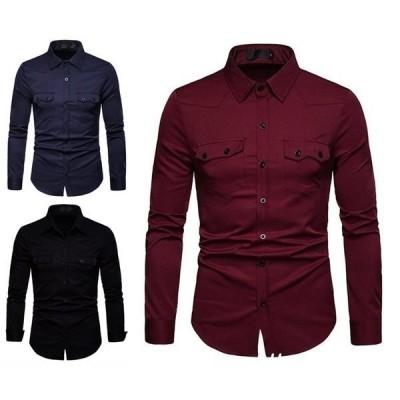 メンズシャツ19開襟カジュアルシャツフォーマルオフィス長袖無地シャツトップス大人オシャレ6色S?2XL
