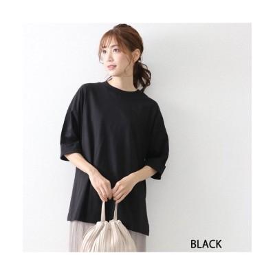 (OWNCODE/オウンコード)コットンサイドスリットターンバックスリーブTシャツ/レディース ブラック
