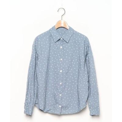 シャツ ブラウス ドット柄長袖シャツ