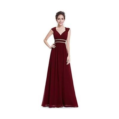 Ever-Pretty ロングドレス シフォン 演奏会 イブニングドレス long dress 結婚 パーティードレス (ワインレッド L)