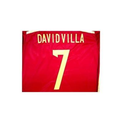 大人用 A014 スペイン DAVID VILLA*7 ダビド ビシャ 赤 16 ゲームシャツ パンツ付 ユニフォーム