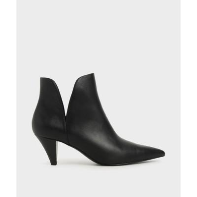 ブーツ スウィートハート カットコーンヒールアンクルブーツ / Sweetheart Cut Cone Heel Ankle Boots