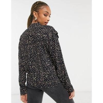 オブジェクト レディース シャツ トップス Object blouse with cut out detail in dots Black