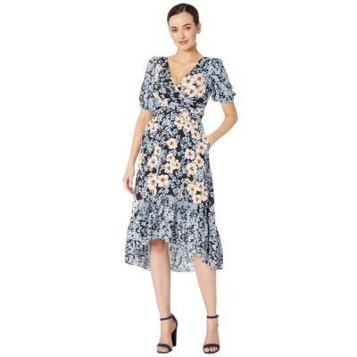 ドナ モルガン Donna Morgan レディース ワンピース バブルドレス ミドル丈 Short Bubble Sleeve Midi Dress with Ruffle High-Low Hem and Waist Ruching