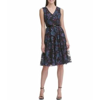 トミー ヒルフィガー レディース ワンピース トップス V-Neck Sleeveless Floral Mesh Belted Lace Fit & Flare Dress Sky Captain