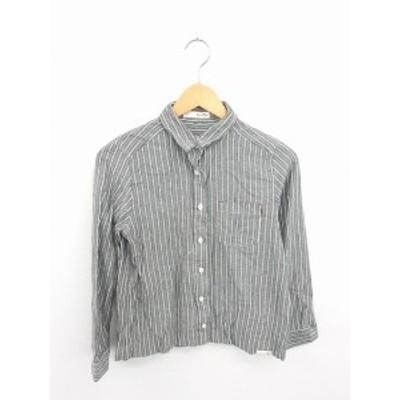 【中古】pipue de pique シャツ ブラウス ストライプ 左胸ポケット 長袖 灰 白 グレー ホワイト /TT9 レディース