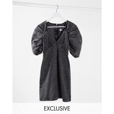 リクレイム ヴィンテージ Reclaimed Vintage レディース ワンピース デニム ウォッシュ加工 Inspired Dress In Washed Black Denim ウォッシュブラック