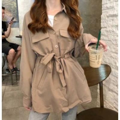2色 シャツ ブラウス トップス 羽織 ゆったり 長袖 無地 シンプル カジュアル 大人可愛い 韓国 オルチャン ファッション