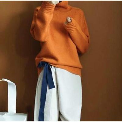 送料無料!S~3XL★3シーズンは着られます★色鮮やかなオレンジ綿&羊毛ニット★ストレットあり柔らかいニット★カーディガン