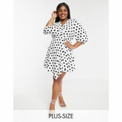 リバーアイランド River Island Plus レディース ワンピース ラップドレス ミニ丈 ワンピース・ドレス Polka Dot Wrap Mini Dress ホワイ