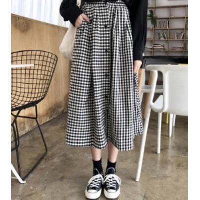 韓国 ファッション レディース スカート ロング ギンガムチェック フレア ハイウエスト ウエストゴム ゆったり カジュアル