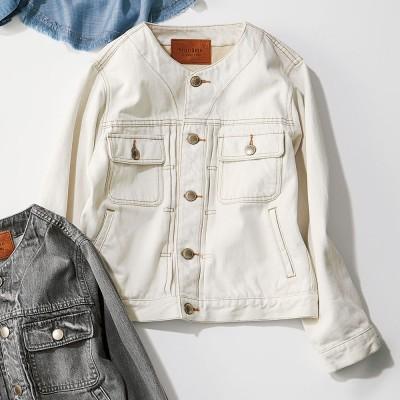 Moname/モナーム クルーネック デニムジャケットシリーズ オフホワイト オフホワイト M