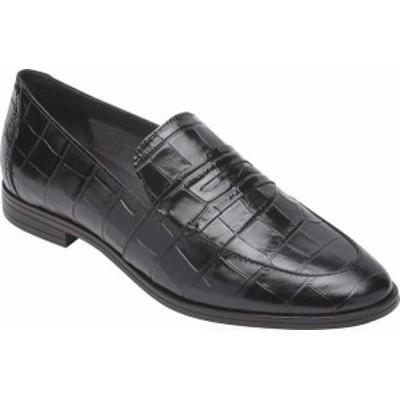 ロックポート レディース スリッポン・ローファー シューズ Women's Rockport Perpetua Penny Loafer Black Croco Leather