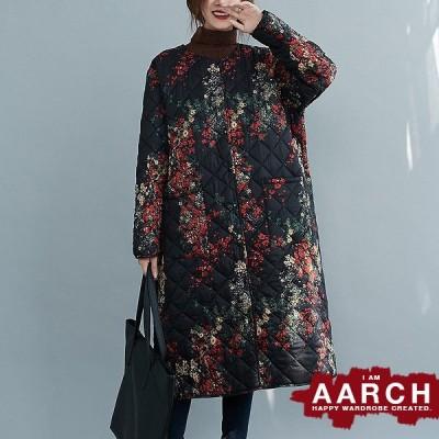 大きいサイズ レディース ファッション コート アウター ぽっちゃり おおきいサイズ あり オーバーサイズ キルティング ノーカラー 花柄 M L LL 3L 4L 秋冬