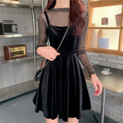 デート ガールズ レディース ファッション かわいい スウィート 衣装 ツーピース フレンチスタイル ブラック シアー メッシュ セクシー ワンピー