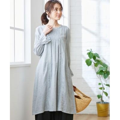大きいサイズ 綿100%ダブルガーゼフロントシャーリングサックワンピース(オトナスマイル) ,スマイルランド, ワンピース, plus size dress