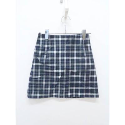 BURBERRY BLUE LABEL(バーバリーブルーレーベル)ノバチェックミニスカート 紺/白 レディース Aランク 36