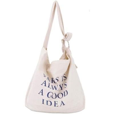 [EMSO] トートバッグ レディース 帆布 ショルダーバッグ 英文字 ショルダーベルト調節可 大容量 (白)