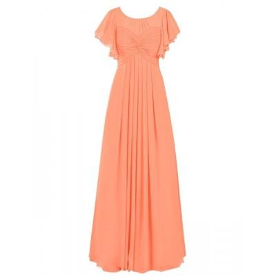 Dresstell(ドレステル) レディーズ ロング丈 お呼ばれ 結婚式ドレス 二次会ドレス フリル袖 ふんわりシフォン ビスチェタイプ フォーマルドレス