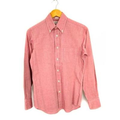 【中古】インディビジュアライズドシャツ INDIVIDUALIZED SHIRTS トップス ボタンダウンシャツ 長袖 スタンダードフィット コットン 無地 赤系【ベクトル 古着】