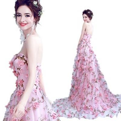 花嫁ドレスパーティードレスブライダルロング二次会ドレスロングドレスイブニングドレスキャバ嬢ドレス編上げ大きいサイズピンク通常1298
