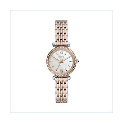 Fossil Women's Mini Carlie Quartz Two-Tone Stainless Steel Watch, Color: Silver/Rose Gold (Model: ES4649)並行輸入品