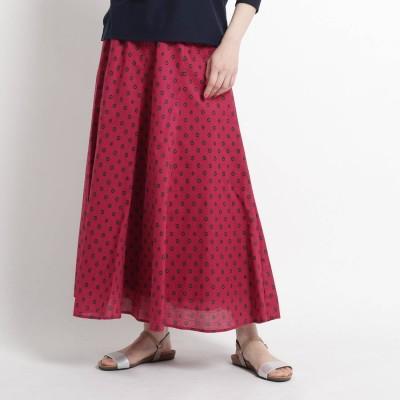 デッサン Dessin 【Sサイズあり・洗える】アフリカン小紋プリントフレアスカート (ピンク)