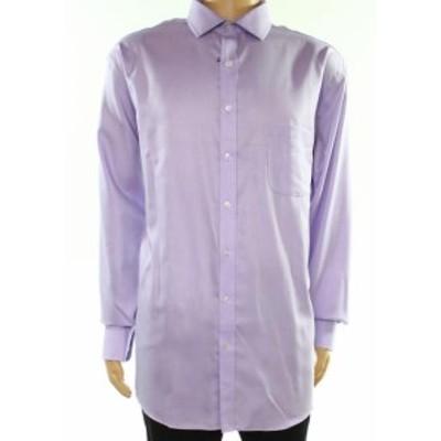 Pocket  ファッション ドレス Tasso Elba NEW Purple Mens Size 17 1/2 Pocket Regular Fit Dress Shirt