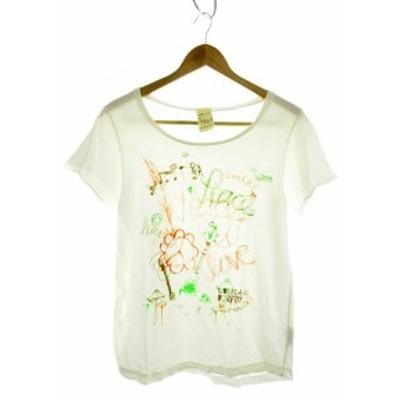 【中古】バーフィット BURFITT Tシャツ カットソー 半袖 プリント S 白 ホワイト /MK レディース