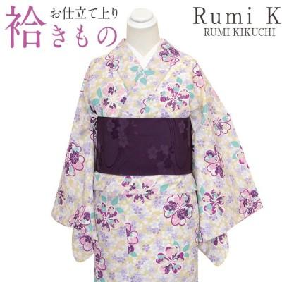 着物 小紋 袷 淡抹茶 小桜 Lサイズ ルミキクチ ブランド レディース 女性 洗える