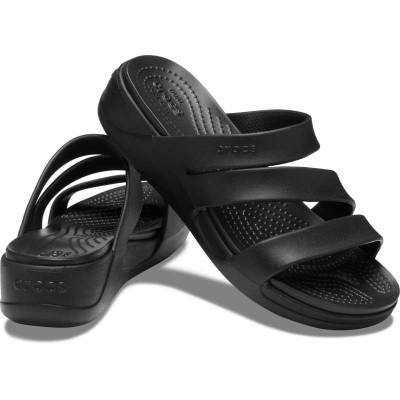 [クロックス公式] ウェッジソール クロックス モントレー ストラッピー ウェッジ ウィメン レディース、ウィメンズ、女性用 ブラック/黒 21cm,22cm,23cm,24cm,25cm Women's Crocs Monterey Strappy Wedge