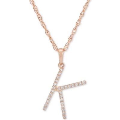 """メイシーズ Macy's レディース ネックレス Diamond (1/10 ct. t.w.) Initial Pendant Necklace in 10k Rose Gold, 16"""" + 2"""" extender"""