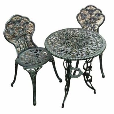 ジャービス商事 アルミ鋳物 ガーデンセット 鋳物テーブル3点セット(中) (テーブル+チェア2脚) 13036