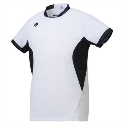 [DESCENTE]デサントバレー 半袖プラクティスシャツ (DVB5929)(WHT) ホワイト×ブラック[取寄商品]