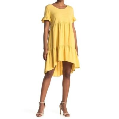 スジーナ レディース ワンピース トップス Short Sleeve Tiered Dress YELLOW OCHRE