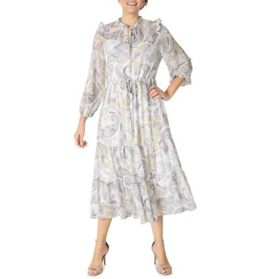 ジュリア ジョーダン レディース ワンピース トップス Long Sleeve Ruffle Drawstring Neck Paisley Dress IVORY/MULT