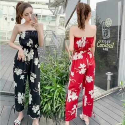 韓国 オールインワン サロペット ロンパース レディース オールインワン セットアップ オールインワン ドレス 20代 30代 40代 花柄
