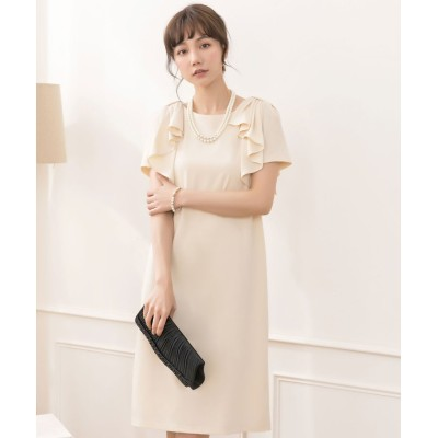 【ドレス スター】 ショルダーフリルシンプルワンピース レディース ベージュ Sサイズ DRESS STAR