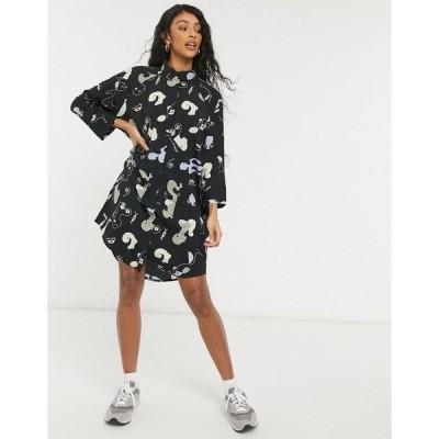モンキ レディース ワンピース トップス Monki Moa recycled abstract print mini shirt dress in black Abstarct bodies