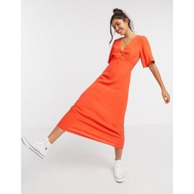 ニュールック レディース ワンピース トップス New Look v neck flutter sleeve midi dress in bright orange